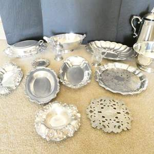 Lot # 16- Platters, bowls, etc. Some silver plated!