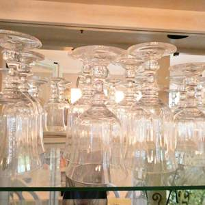 Lot # 20- Mikasa glassware: Crystal wine and water goblets