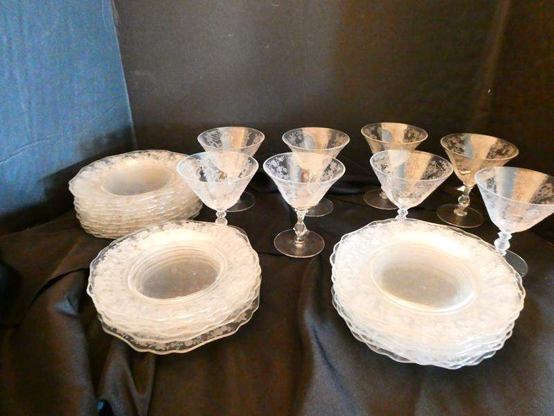 Lot # 22- Vintage Rose point dishes  and glassware (main image)