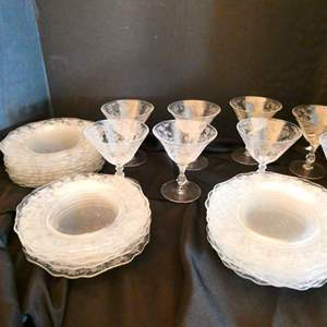 Lot # 22- Vintage Rose point dishes  and glassware
