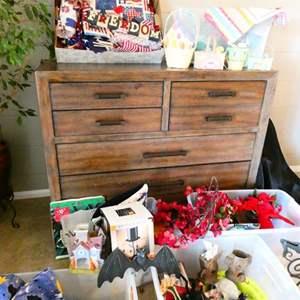 Lot # 27- Six bins of holiday decorations!