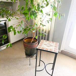 Lot # 28- Small, outdoor brick table + more