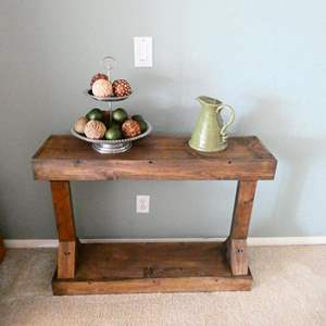 Lot # 38- Rustic  Accent Table- Contents not included