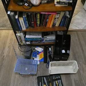 Lot # 107- Bookshelf + extras