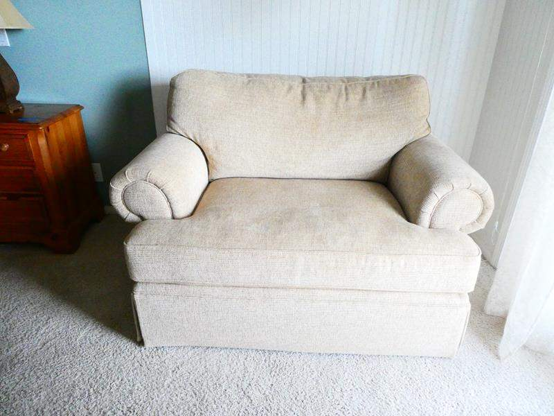 Lot # 40- Bassett (beige) oversized chair- Great Condition! (main image)