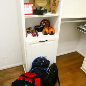 Lot # 41- Manly stuff- Cowboy hat,  Swiss Briefcase, Wooden Dutch Shoes,  Shoe Shine Kit, CamelBak, Bags and More