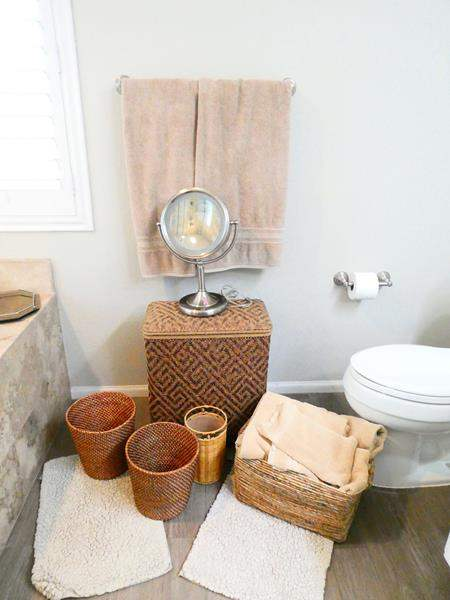 Lot # 44-Bathroom accessories- Towels, Magnifying Mirror, Hamper, Rugs, Baskets (main image)