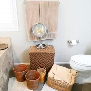 Lot # 44-Bathroom accessories- Towels, Magnifying Mirror, Hamper, Rugs, Baskets