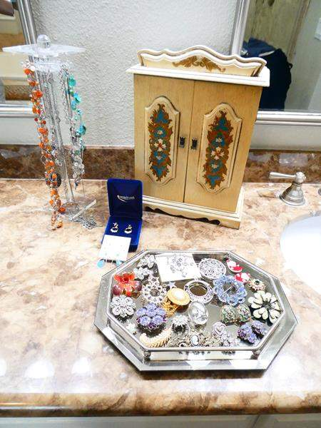 Lot # 45- Vintage jewelry box, Costume Jewelry- Necklaces, earrings, brooches, jewelry box and more! (main image)
