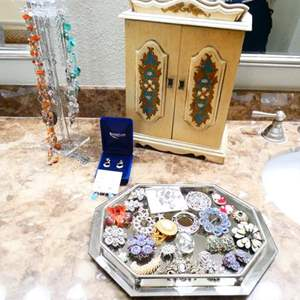 Lot # 45- Vintage jewelry box, Costume Jewelry- Necklaces, earrings, brooches, jewelry box and more!