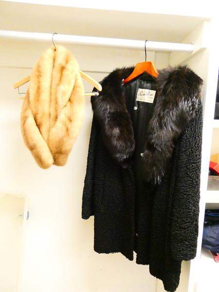 Lot # 47- Vintage Fur Coat and Stole (main image)