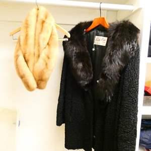 Lot # 47- Vintage Fur Coat and Stole