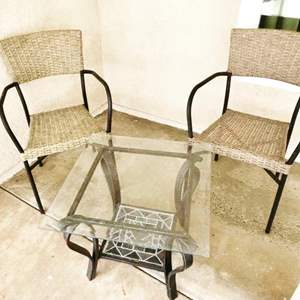 Auction Thumbnail for: Lot # 93- Wicker style Patio Chairs with table