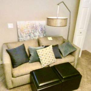Lot # 116- Sofa bed, ottomans and more!