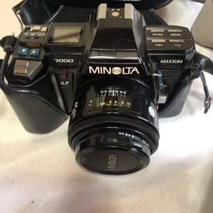 Lot # 212-Vintage Minolta Camera 35mm, with accessories and extra lens