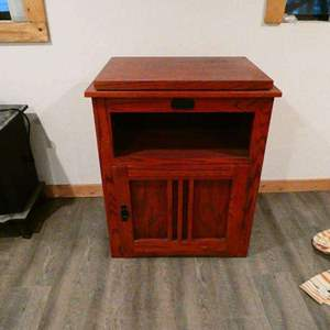 Lot # 215- Solid wood entertainment/ TV stand