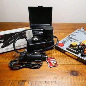 Lot # 222- Tools: Craftsman Rotary Tool, B&D inflator, Chicago elec soldering kit