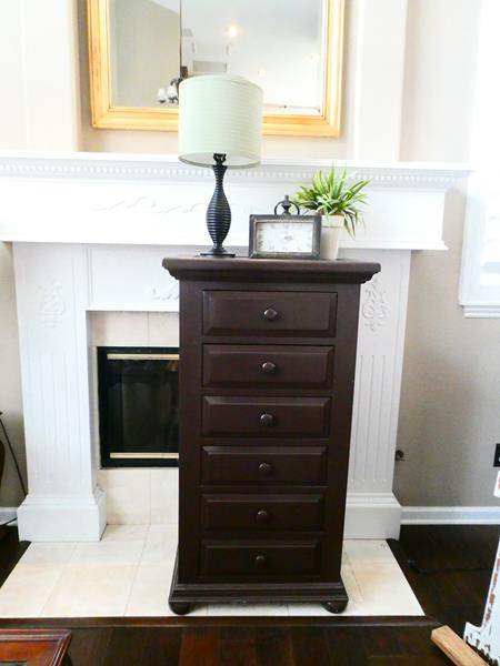 Lot # 6- Tall Chest of Drawers with  Beautiful Decor pieces and Lamp! (main image)