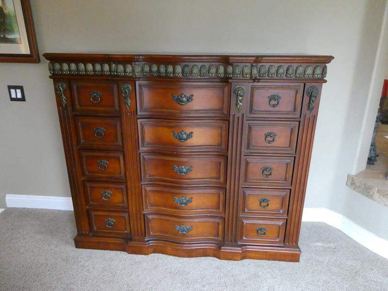 Lot # 106- Beautiful, solid wood dresser, dresser drawers- matches bed set- amazing detail (main image)