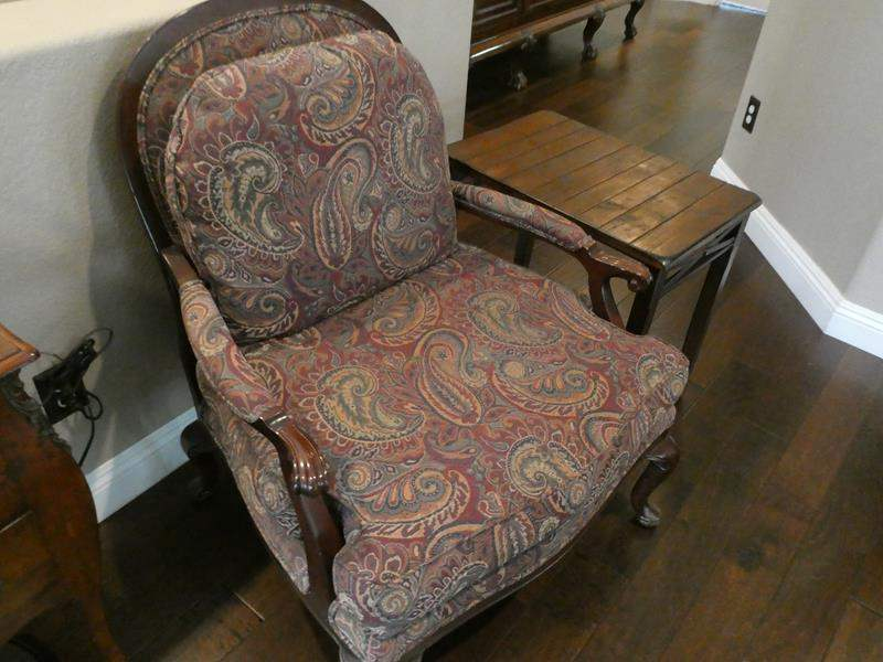 Lot # 113- Vintage wood/cloth chair and end table (main image)