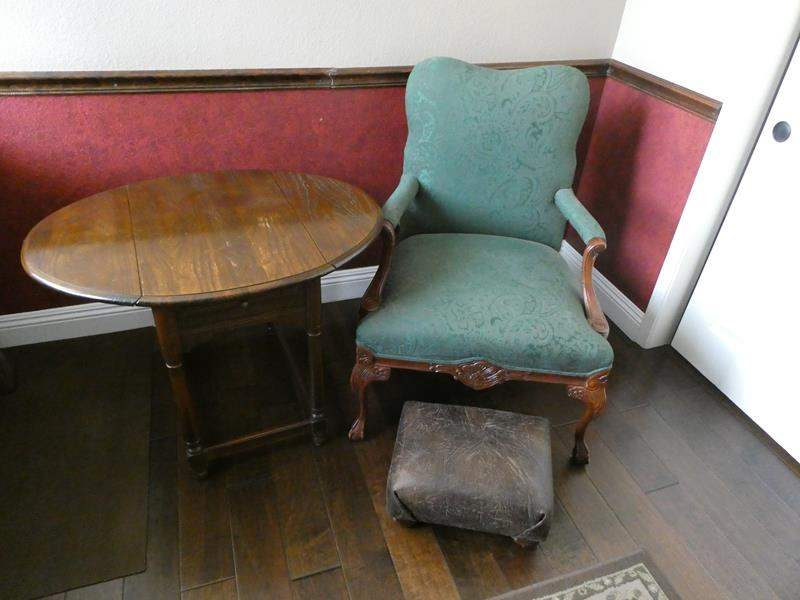 Lot # 121- Antique end table and chair (main image)