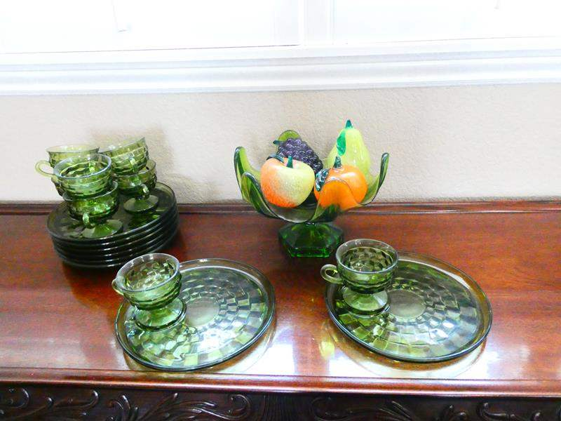 Lot # 32-Green Glass Luncheon Plates and More! (main image)