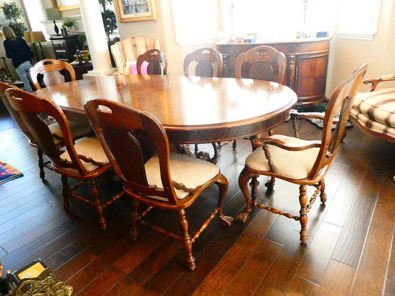 Lot # 34-Gorgeous Pulaski, Tiger Oak Wood, This can be made smaller as well- 8 piece dinning table (main image)
