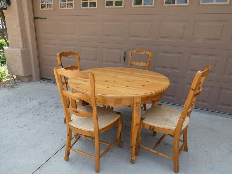 Lot # 135- Gorgeous, French carved. wood table with chairs (main image)