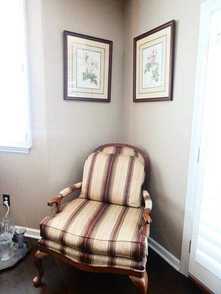 Lot # 36-Beautiful- Great condition-Oversized Sitting Chair with 2 Wall Hangings! (main image)