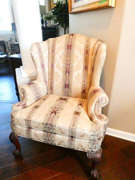 Lot # 38-Beautiful Wingback Chair with 2 Lamps and More! (main image)