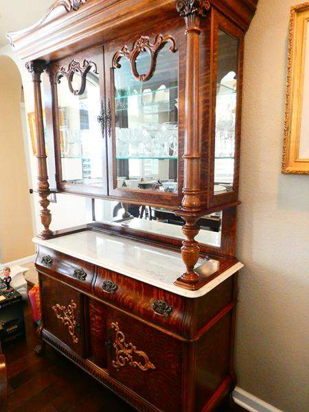 Lot # 42-Pulaski, Tiger Oak Wood- vintage, dinning hutch. Beautiful with marble top- 2 pieces  (main image)