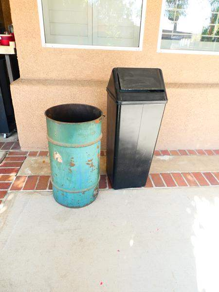 Lot # 54- Vintage Items! Large tin and heavy metal trash can (main image)