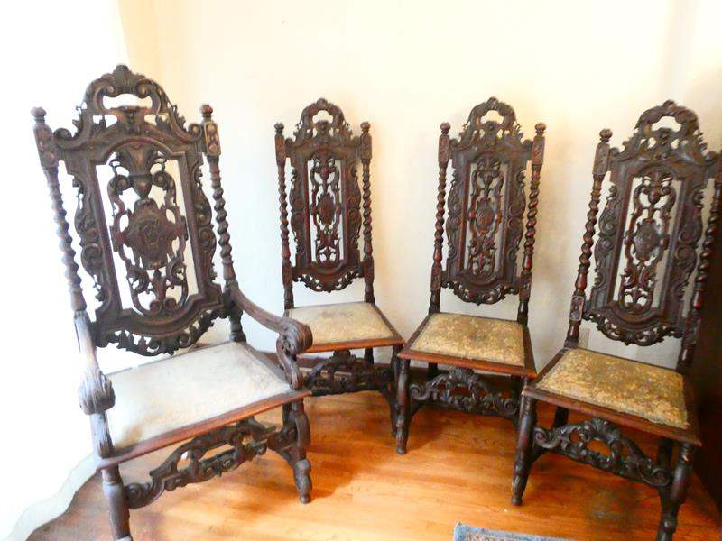 Lot # 200- Caterina Wilhelm's dinning chairs- 4 wood carved Antique chairs from Germany (main image)