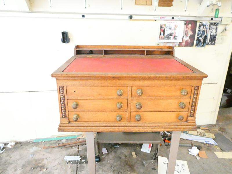 Lot # 202- Antique 6 Drawer Podium style desk topper (Stand not included) (main image)
