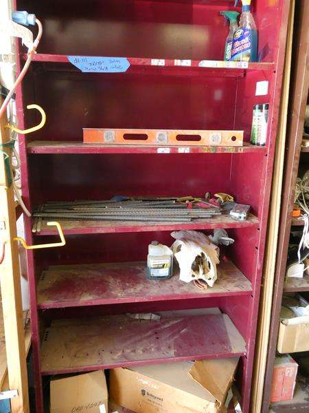 Lot # 111- Great garage storage- Metal shelf with contents included! (main image)