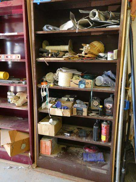 Lot # 112- Brown metal shelving! See our video with bonus hats you get on this lot (main image)