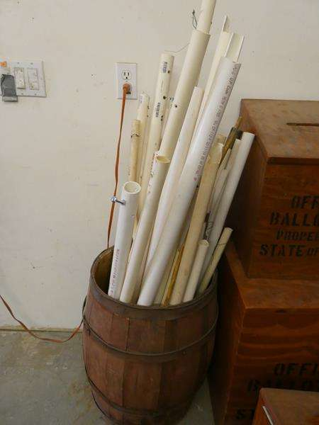 Lot # 119- Cool vintage looking barrel + PVC pipes (main image)