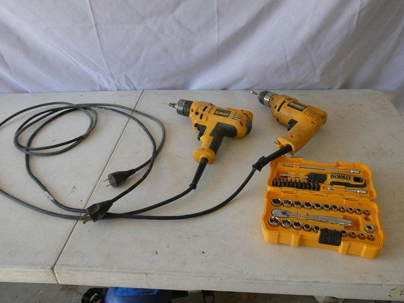 Lot # 129- 2 DeWALT corded drills & DeWalt socket set (main image)