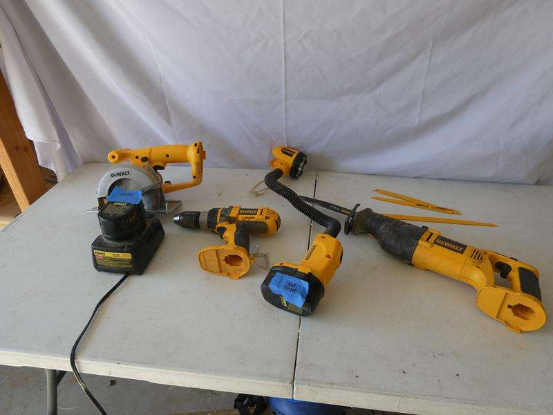 Lot # 133-DeWALT Package! Circular Saw, Drill, Light, Reciprocating saw, Charger and Blades! (main image)