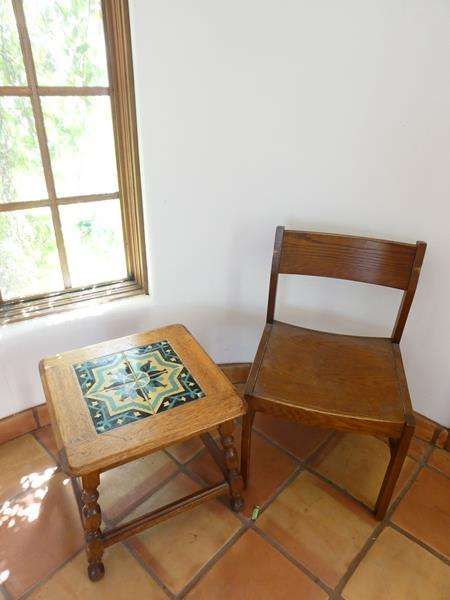 Lot # 3- Antique California mission Taylor Malibu wood and tile top 1920's with chair (main image)