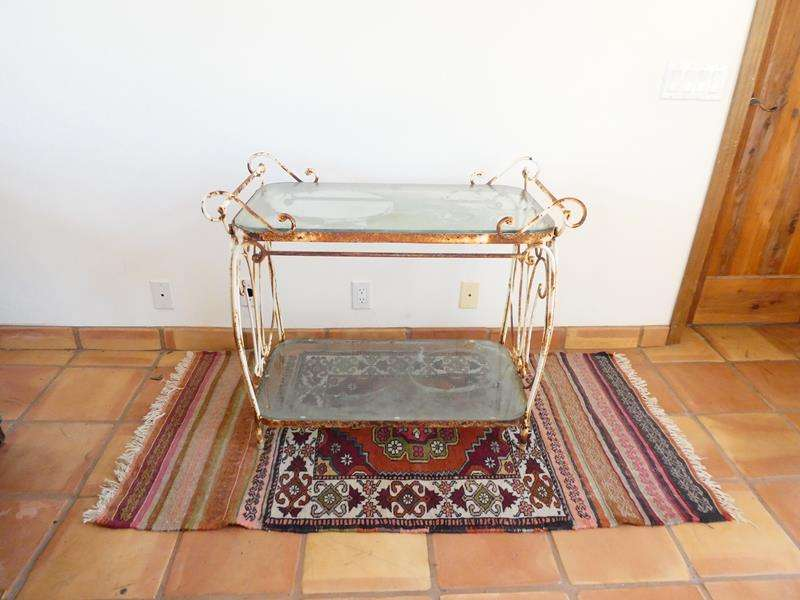 Lot # 4-Vintage Wrought Iron Entertaining Table with Spanish Style Area Rug (main image)