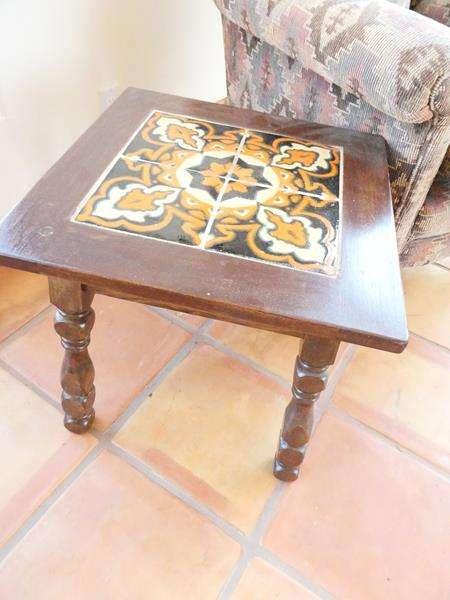 Lot # 12-Antique Mission Monterey Tile Top Table! (1920's) Bonus: Vintage chair (if you want it) (main image)
