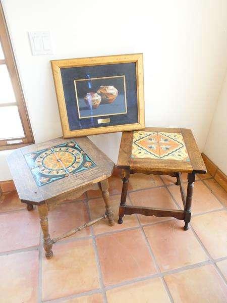 Lot # 14-2 Antique Mission Monterey Tile Top Side tables with Framed ZIA JARS (main image)