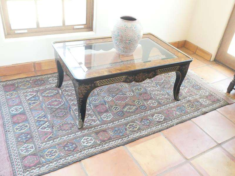 Lot # 17- Asian Style Coffee Table with Area Rug and Decor Piece! (main image)