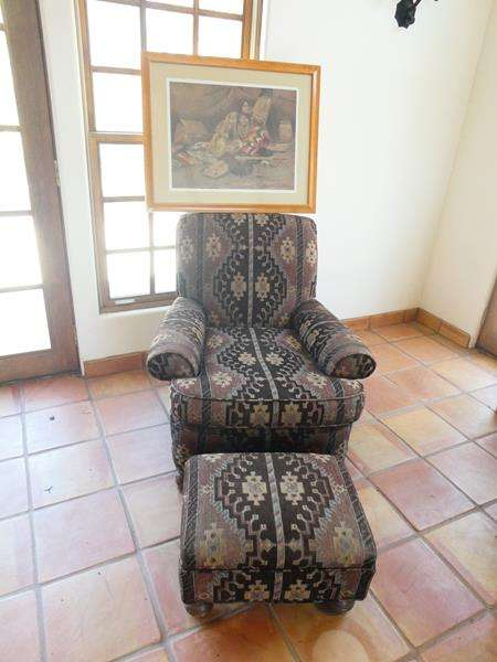 Lot # 19-Southwest Style Chair with Matching Ottoman with Framed Indian Artwork (main image)
