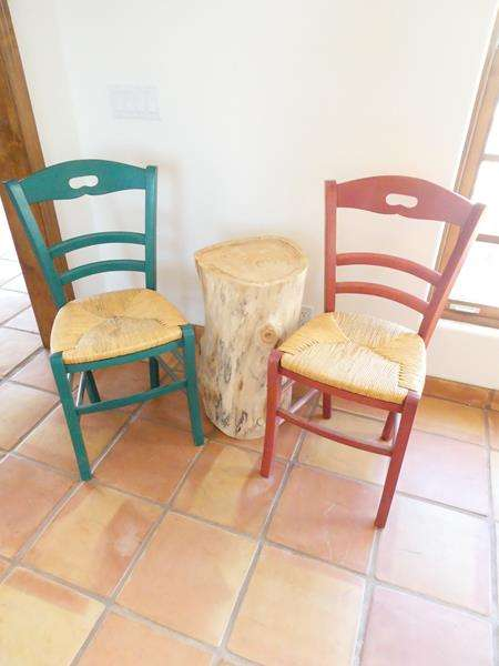 Lot # 28-Conversation Setting! Wood/ wicker chairs and Avocado tree stump end table (main image)