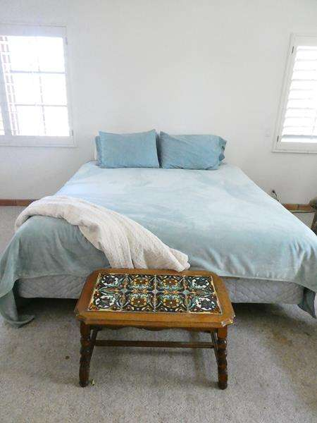 Lot # 31-Cal King Bed (mattress in great condition) with Bedding pieces and Antique Mission Monterey Tile Top Table! (main image)