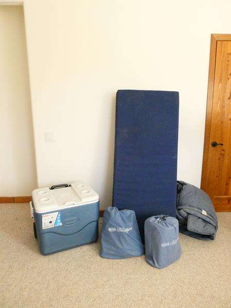 Lot # 43-Camping Set Up! Coleman Ice Chest, 2 Simmons Air Mattresses and More! (main image)