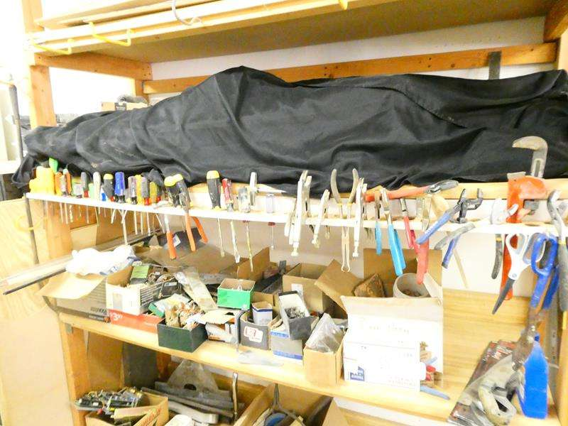 Lot # 179- Hand tools along with 2 shelves other items like  nails, screws and more! (main image)