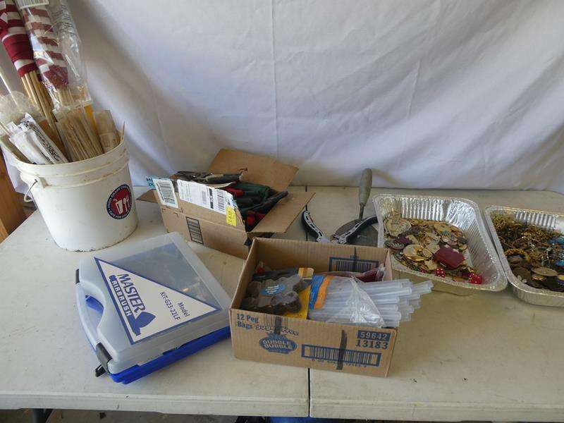 Lot # 183- Craft supplies; Master air brush, Keepsake hands, Mexican pottery, Costume jewelry  and much more! (main image)
